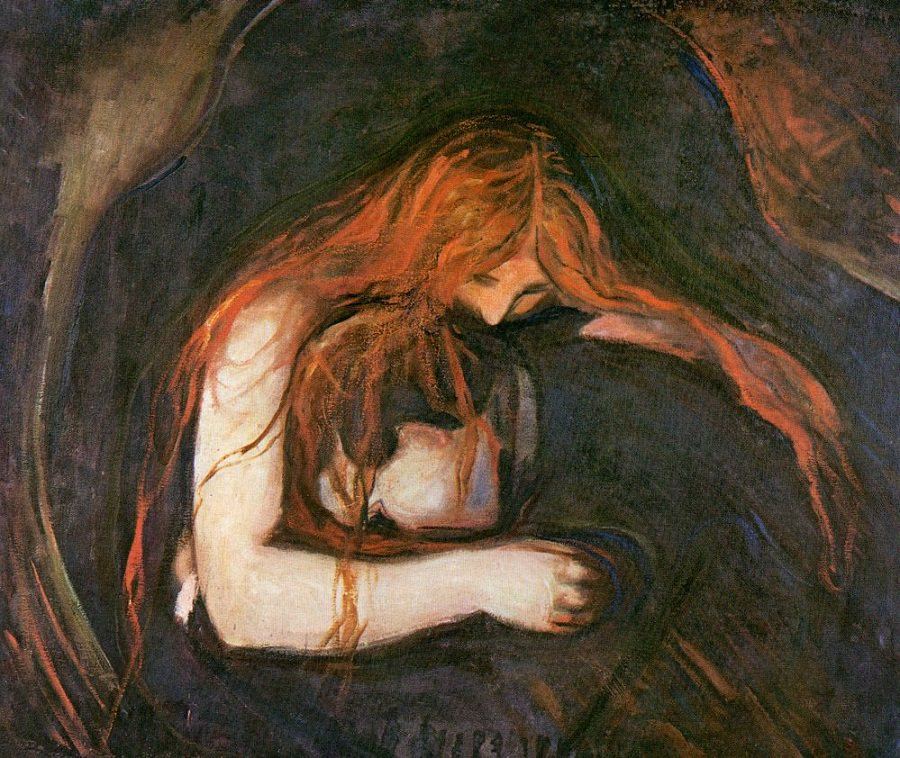 pictura: Edvard Munch, Vampirul, www.edvardmunch.org