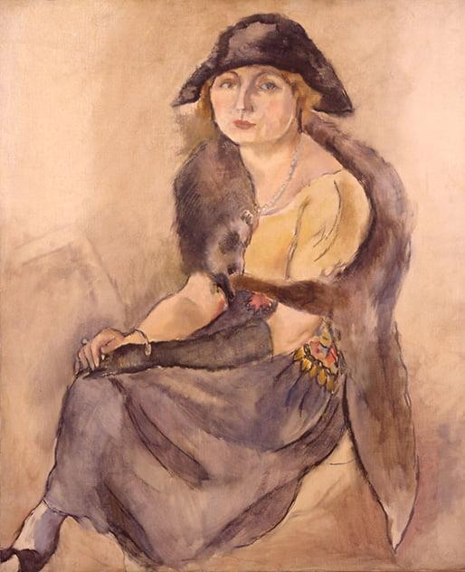 Portretul Dianei Ghica, realizat de Jules Pascin; sursa: www.hiroshima-museum.jp/en/collection/abroad