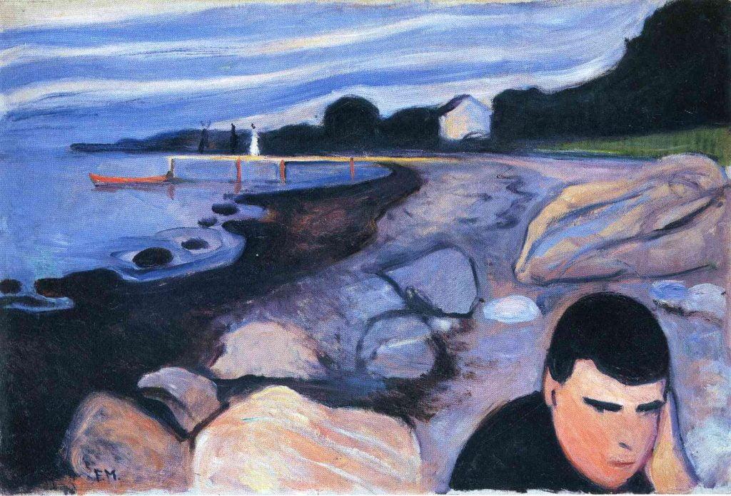 pictura: Edvard Munch, Melancolie, Galeria Nationala din Oslo, www.wikiart.org/en/edvard-munch