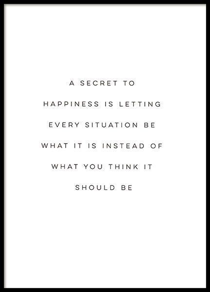 citate in engleza despre fericire - A secret to happiness is letting every situation be what it is instead of what you think it should be.